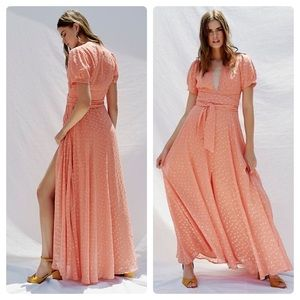 New Free People Wanderer Coral Maxi Dress